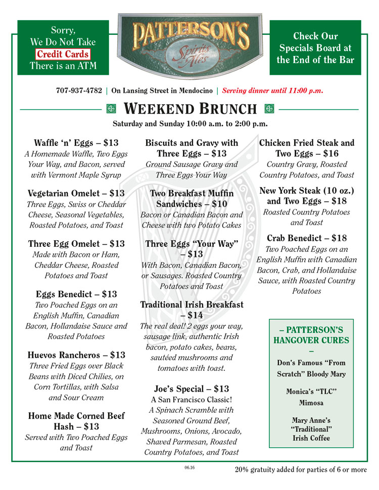 Patterson's Pub Weekend Brunch Menu