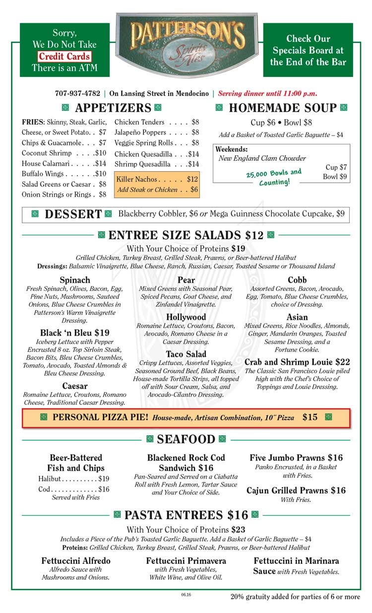 Patterson's Pub Food Menu Side 1